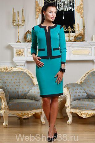 Зеленое платье с имитацией костюма