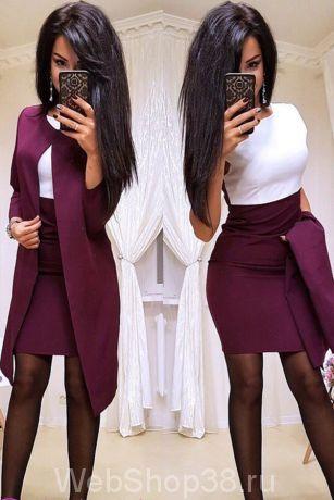 Крутой костюм платье и пиджак цвет слива